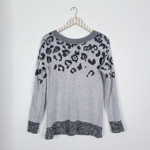UO SKIES ARE BLUE Leopard Tie Back Sweater Gray S